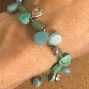 Sterling and stone stretch bracelet